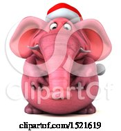 Clipart Of A 3d Pink Christmas Elephant On A White Background Royalty Free Illustration by Julos