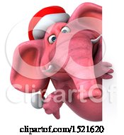 Clipart Of A 3d Pink Christmas Elephant Holding A Thumb Down On A White Background Royalty Free Illustration by Julos