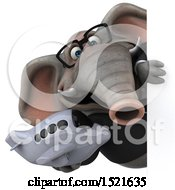 Clipart Of A 3d Business Elephant Holding A Plane On A White Background Royalty Free Illustration