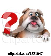 Clipart Of A 3d Bulldog Holding A Question Mark On A White Background Royalty Free Illustration
