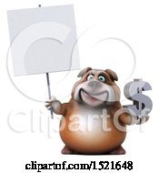 Clipart Of A 3d Bulldog Holding A Dollar Sign On A White Background Royalty Free Illustration