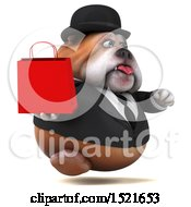 Clipart Of A 3d Gentleman Or Business Bulldog Holding A Shopping Bag On A White Background Royalty Free Illustration