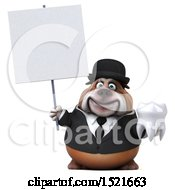 3d Gentleman Or Business Bulldog Holding A Tooth On A White Background