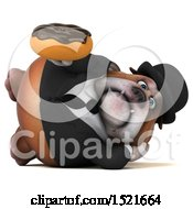 Clipart Of A 3d Gentleman Or Business Bulldog Holding A Donut On A White Background Royalty Free Illustration