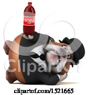 3d Gentleman Or Business Bulldog Holding A Soda On A White Background