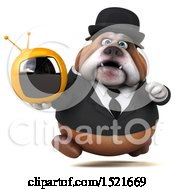 3d Gentleman Or Business Bulldog Holding A Tv On A White Background