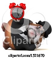 Clipart Of A 3d Gentleman Or Business Bulldog Holding An Alarm Clock On A White Background Royalty Free Illustration