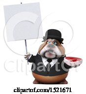 Clipart Of A 3d Gentleman Or Business Bulldog Holding A Steak On A White Background Royalty Free Illustration