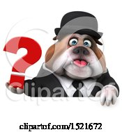 3d Gentleman Or Business Bulldog Holding A Question Mark On A White Background