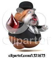 3d Gentleman Or Business Bulldog Holding A Blood Drop On A White Background