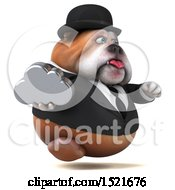 3d Gentleman Or Business Bulldog Holding A Cloud On A White Background