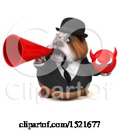 Clipart Of A 3d Gentleman Or Business Bulldog Holding A Devil On A White Background Royalty Free Illustration