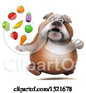 3d Bulldog Holding Produce On A White Background