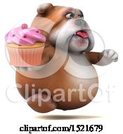 Clipart Of A 3d Bulldog Holding A Cupcake On A White Background Royalty Free Illustration