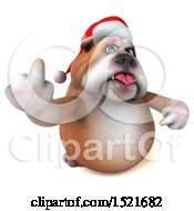 Clipart Of A 3d Christmas Bulldog Holding Up A Middle Finger On A White Background Royalty Free Illustration by Julos
