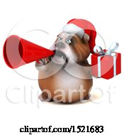 Clipart Of A 3d Christmas Bulldog Holding A Gift On A White Background Royalty Free Illustration by Julos