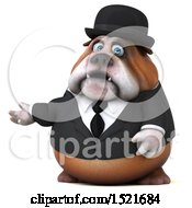 Clipart Of A 3d Gentleman Or Business Bulldog Presenting On A White Background Royalty Free Illustration by Julos