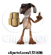 Poster, Art Print Of 3d Brown Chocolate Lab Dog Holding Boxes On A White Background