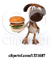 3d Brown Chocolate Lab Dog Holding A Burger On A White Background