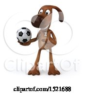 Poster, Art Print Of 3d Brown Chocolate Lab Dog Holding A Soccer Ball On A White Background