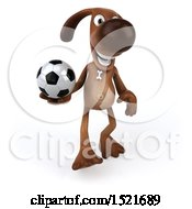 3d Brown Chocolate Lab Dog Holding A Soccer Ball On A White Background