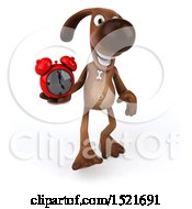 3d Brown Chocolate Lab Dog Holding An Alarm Clock On A White Background