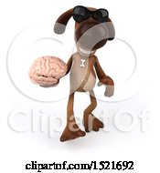 3d Brown Chocolate Lab Dog Holding A Brain On A White Background