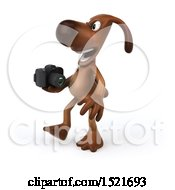 3d Brown Chocolate Lab Dog Holding A Camera On A White Background