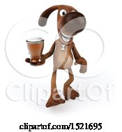 Poster, Art Print Of 3d Brown Chocolate Lab Dog Holding A Beer On A White Background