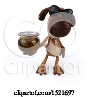 3d Brown Chocolate Lab Dog Holding Honey On A White Background