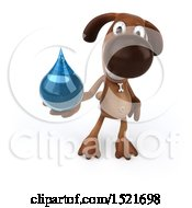 3d Brown Chocolate Lab Dog Holding A Water Drop On A White Background