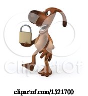 Poster, Art Print Of 3d Brown Chocolate Lab Dog Holding A Padlock On A White Background