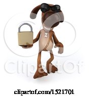 3d Brown Chocolate Lab Dog Holding A Padlock On A White Background