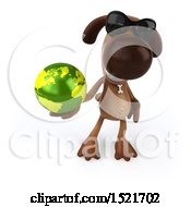 3d Brown Chocolate Lab Dog Holding A Globe On A White Background