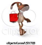 3d Brown Chocolate Lab Dog Holding A Shopping Bag On A White Background