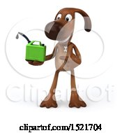 3d Brown Chocolate Lab Dog Holding A Gas Can On A White Background