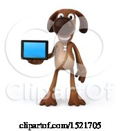 3d Brown Chocolate Lab Dog Holding A Tablet On A White Background