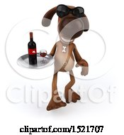 Poster, Art Print Of 3d Brown Chocolate Lab Dog Holding A Wine Tray On A White Background