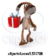 Poster, Art Print Of 3d Brown Chocolate Lab Dog Holding A Gift On A White Background