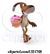 Poster, Art Print Of 3d Brown Chocolate Lab Dog Holding A Cupcake On A White Background