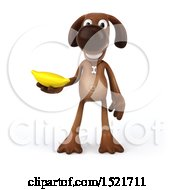 Poster, Art Print Of 3d Brown Chocolate Lab Dog Holding A Banana On A White Background
