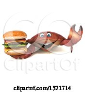 3d Crab Holding A Burger On A White Background