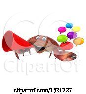 Clipart Of A 3d Crab Holding Messages On A White Background Royalty Free Illustration