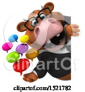Clipart Of A 3d Brown Business Cow Holding Messages On A White Background Royalty Free Illustration