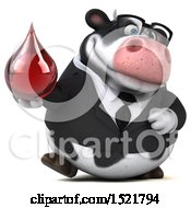 Clipart Of A 3d Business Holstein Cow Holding A Blood Drop On A White Background Royalty Free Illustration