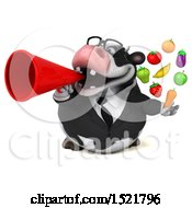 3d Business Holstein Cow Holding Produce On A White Background