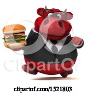 3d Red Business Bull Holding A Burger On A White Background