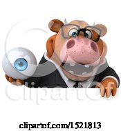 Clipart Of A 3d Brown Business Cow Holding An Eye On A White Background Royalty Free Illustration by Julos