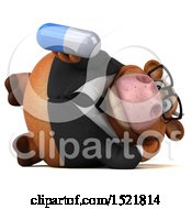 Clipart Of A 3d Brown Business Cow Holding A Pill On A White Background Royalty Free Illustration by Julos