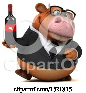 Clipart Of A 3d Brown Business Cow Holding A Wine Bottle On A White Background Royalty Free Illustration by Julos